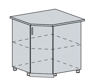 90DRS d. skříňka rohová PROVENCE šedá