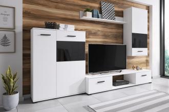 Obývací stěna ARES bílá/černá