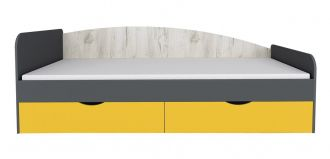 Postel 90x200 DISNEY dub kraft bílý/šedý grafit/žlutá