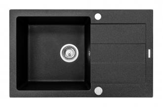 Pyragranitový dřez SPARTA PLUS LUX 1B 1D (78x48) black