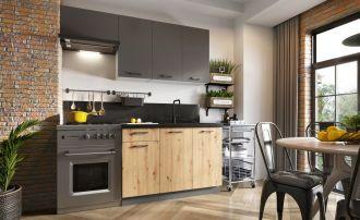 Kuchyně CARLO 180 šedá grafit/dub artisan