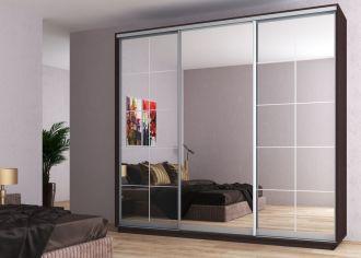 Šatní skříň WALES 250 wenge/zrcadlo