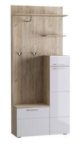 Předsíňová stěna s botníkem LANDON dub kraft šedý/bílá lesk