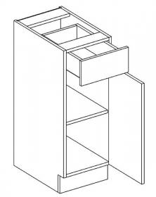 D30/S1 dolní skříňka jednodvéřová s 1 zásuvkou, pravá, MIA picard/bílá