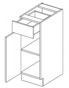 D30/S1 dolní skříňka jednodvéřová s 1 zásuvkou, levá, MIA picard/bílá