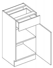 D40/S1 dolní skříňka jednodvéřová s 1 zásuvkou, pravá, MIA  picard/bílá