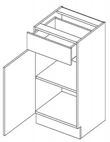 D40/S1 dolní skříňka jednodvéřová s 1 zásuvkou, levá, MIA picard/bílá