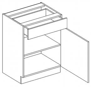 D60/S1 dolní skříňka jednodvéřová s 1 zásuvkou, pravá, MIA picard/bílá