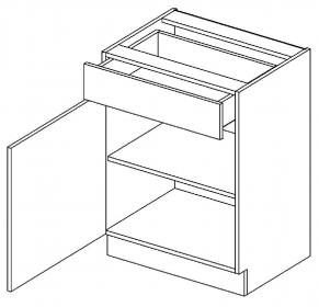D60/S1 dolní skříňka jednodvéřová s 1 zásuvkou, levá, MIA picard/bílá