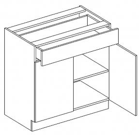 D80/S1 dolní skříňka dvoudvéřová s 1 zásuvkou MIA picard/bílá