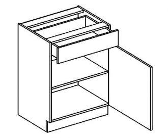 D60S/1 dolní skříňka jednodvéřová s 1 zásuvkou, pravá, BIANCA