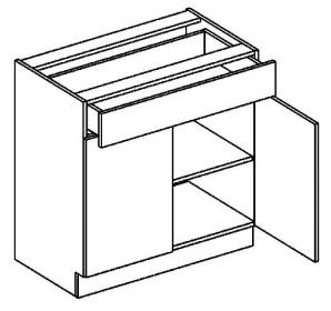 D80/S1 dolní skříňka dvoudvéřová s 1 zásuvkou BIANCA
