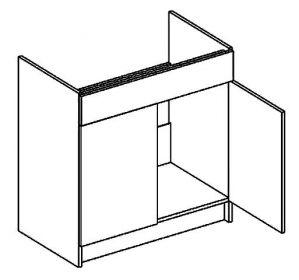 D80ZL dolní skříňka pod dřez MORENO sonoma