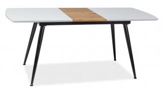 Jídelní stůl rozkládací DAVOS 140x80 bílá/dub/černá