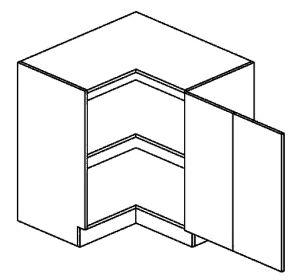 DRPP dolni skříňka rohová PREMIUM de LUX 90x90 cm hruška