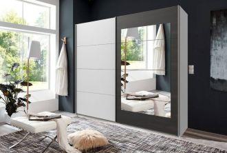 Šatní skříň s posuv. dveřmi LODOSO 793 bílá/ocel/zrcadlo