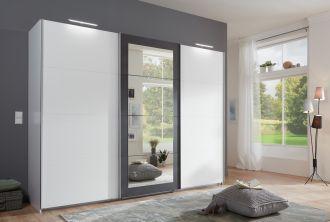 Šatní skříň s posuv. dveřmi LODOSO 796 bílá/ocel/zrcadlo