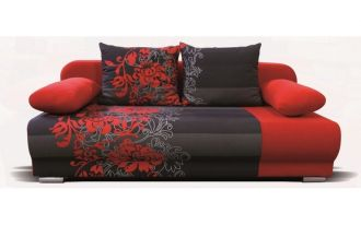 Rozkl. pohovka VERONA 17 červená s květy