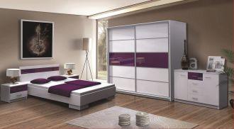 Ložnice DUBAJ F postel+komoda+skříň+noční stolky