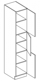D40SL potravinová skříň PAULA šedá/mocca pravá