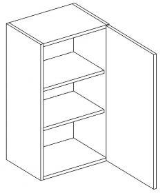 W40 horní skříňka jednodveřová pravá PAULA šedá/mat. šedá