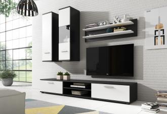Obývací stěna GRINDA černá/bílá