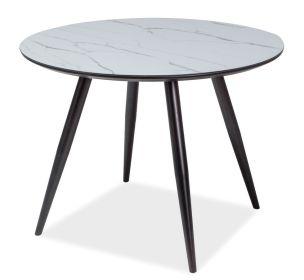 Kulatý jídelní stůl IDEAL černá/mramor