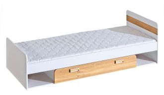 LIMO L13 postel s úložným prostorem bílá/dub nash