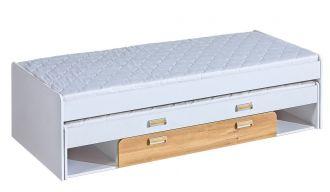 LIMO L16 výsuvná postel s úl. prostorem bílá/dub nash