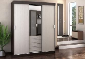 Šatní skříň s posuv. dveřmi LEADER wenge/belfort