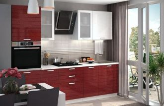 Kuchyně LINDA 260 bílá/granát metalic