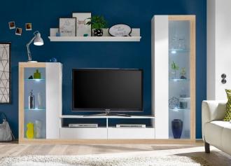 Obývací stěna MALIBU bílá/sonoma