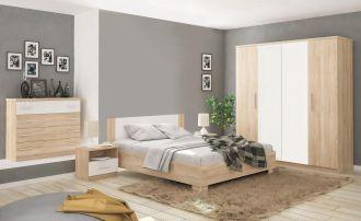 Sestava do ložnice MARKOS dub sonoma/bílá (postel 160, 2x NS, komoda 4S, skříň 4D bez zrcadla)
