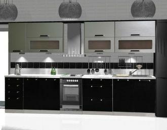 Kuchyně MERKURY 260 černý lesk/stříbrný mat