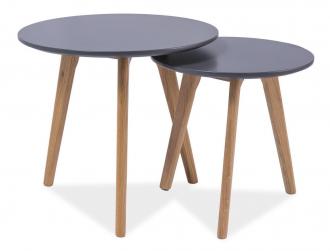 2SET konferenční stolky- sestava MILAN S2 šedá/dub