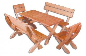Zahradní sestava OM-105  (1 x stůl + 2 x lavice + 2 x křeslo), masiv smrk