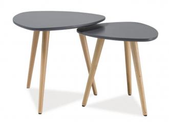 2SET konferenční stolky NOLAN A šedá/buk