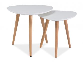 2SET konferenční stolky NOLAN A bílá/buk