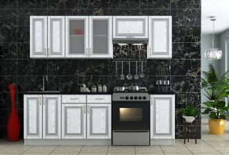 Kuchyně PLATINUM 240 bílá/stříbrná patina