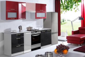 Kuchyně FLOWERS 180 červená/černá lesk