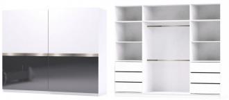 Šatní skříň GLOSSY varianta 1 bílá/grafit lesk