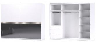 Šatní skříň GLOSSY varianta 2 bílá/grafit lesk