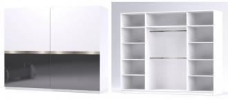 Šatní skříň GLOSSY varianta 4 bílá/grafit lesk
