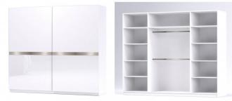 Šatní skříň GLOSSY varianta 4 bílá lesk