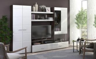 Obývací stěna VEGAS 1 dub wenge/bílá lesk