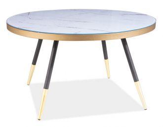 Konferenční stolek VEGA B bílý mramor/černá/zlatá