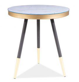 Konferenční stolek VEGA C bílý mramor/černá/zlatá