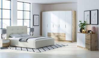 Sestava do ložnice VALTURA (skříň, komoda, 2x NS) dub wotan/bílá