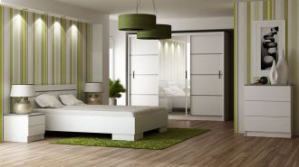 Ložnice VISTA bílá - postel+komoda+skříň+noční stolky