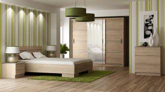 Ložnice VISTA sonoma -  postel+komoda+skříň+noční stolky